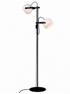 Halo Design - DC Dobbelt Gulvlampe - Hvid/Sort-eg - Ø18cm