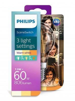 E27 - Philips SceneSwitch Filament LED Pære 806-320-150lm