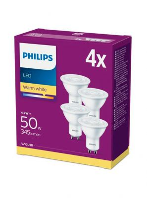 GU10 - Philips LED Spot 4.7W - 345lm  4-pak