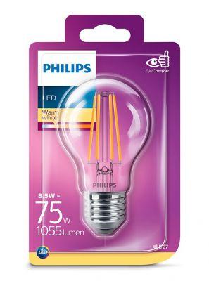 E27 - Philips LED Pære - Klar - 8.5W - 1055lm
