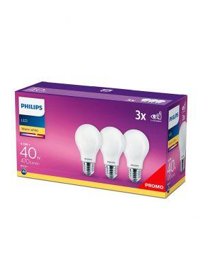 E27 - Philips LED Pære - Mat - 4.5W - 470lm  3-pak