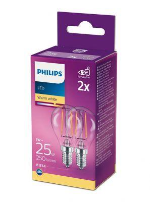 E14 - Philips LED Pære 2W - 250lm 2-pak (Lyskilder)