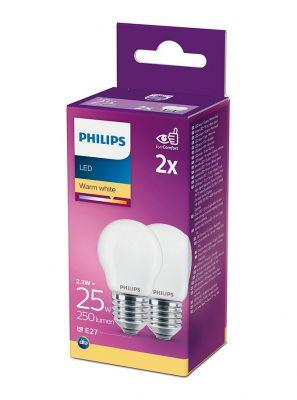 E27 - Philips LED Pære 2.2W - 250lm 2-pak (Lyskilder)