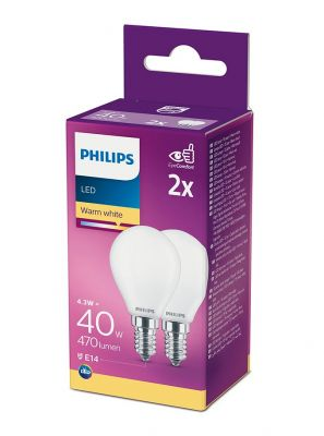 E14 - Philips LED Pære 4.3W - 470lm 2-pak (Lyskilder)