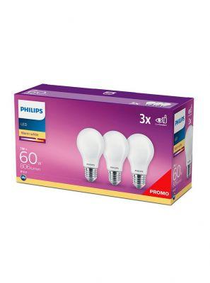 E27 - Philips LED Pære - Mat - 7W - 806lm  3-pak