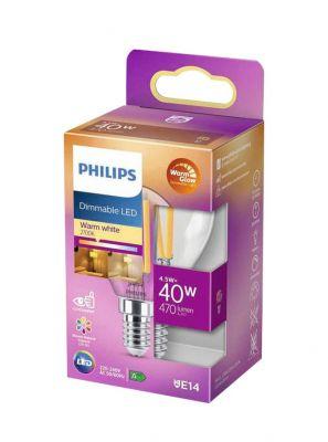 E14 - Philips Warm Glow LED Krone Pære - Klar - 4.5W - 470lm - CRI:90+