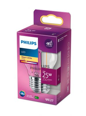 E27 - Philips LED Krone Pære - Klar - 2W - 250lm
