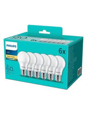 E27 - Philips LED Pære 8W - 806lm  6-pak