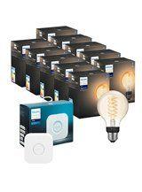 Philips Hue LED pære - E27 Filament Globe 12,5cm 10-pak + Bridge