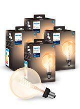Philips Hue LED pære - E27 Filament Globe 12,5cm - 4-pak