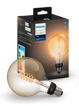 Philips Hue LED pære - E27 Filament Globe 12,5cm
