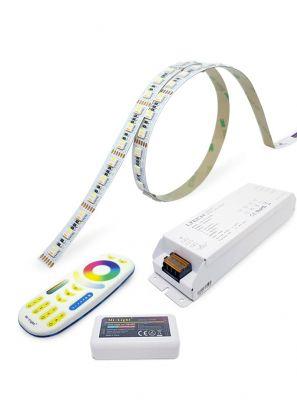 RGBCW LED bånd - 5m - komplet sæt