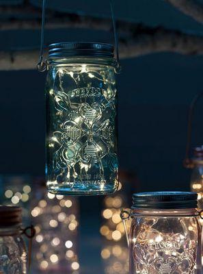 Tivoli LED Glas Lanterne - Blå glas - Jar Light