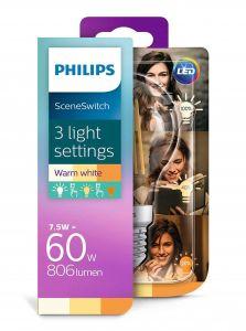 E27 - Philips LED Pære 7.5-3-1.6W - 806-320-150lm (Lyskilder)