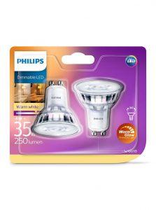GU10 - Philips LED Spot 4W - 280lm 2-pak (Lyskilder)