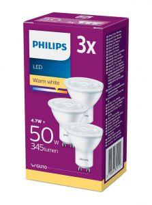 GU10 - Philips LED Spot 4.7W - 400lm 3-pak (Lyskilder)