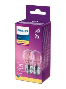 E27 - Philips LED Pære 2W - 250lm 2-pak (Lyskilder)
