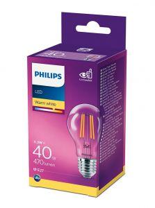 E27 - Philips LED Pære 4.3W - 470lm (Lyskilder)