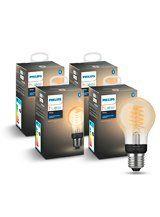 Philips Hue LED pære - E27 Filament Spiral - 4-pak