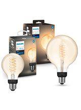 Philips Hue LED Filament - 2 pak - Globe + Globe XL
