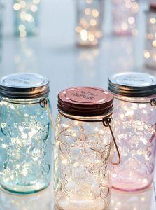 Tivoli LED Glas Lanterne - Hjerter - Klar - Jar Light